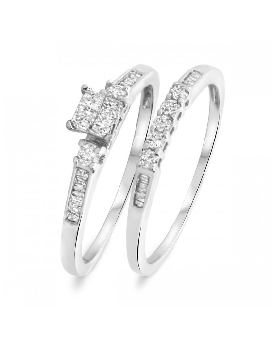 3/8 CT. T.W. Princess, Round, Baguette Cut Diamond Ladies Bridal Wedding Ring Set 14K White Gold