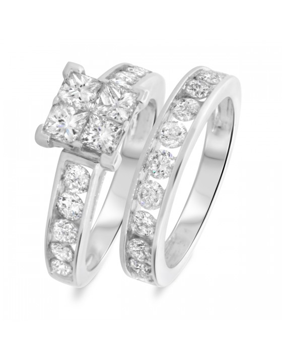 3 CT. T.W. Princess, Round Cut Diamond Ladies Bridal Wedding Ring Set 10K White Gold