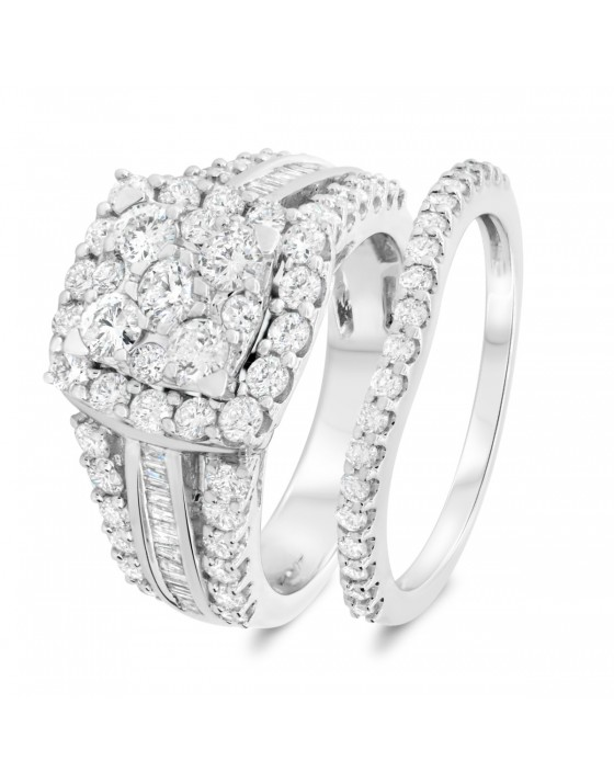 2 1/4 Carat T.W. Diamond Matching Bridal Ring Set 14K White Gold