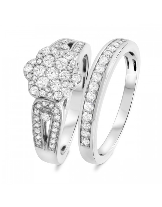 7/8 Carat T.W. Diamond Matching Bridal Ring Set 10K White Gold