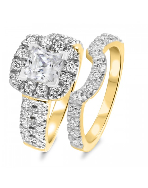 2 1/2 CT. T.W. Diamond Women's Bridal Wedding Ring Set 14K Yellow Gold