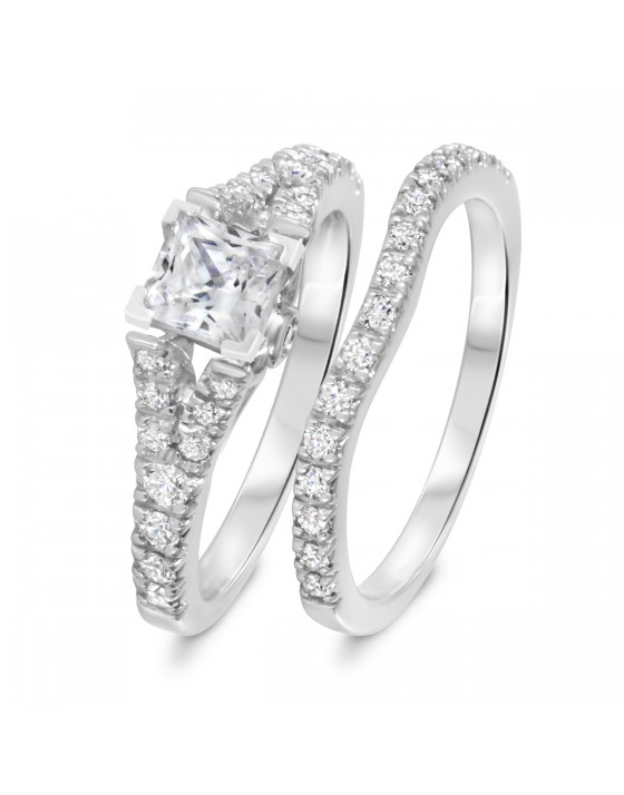 1 1/2 CT. T.W. Diamond Women's Bridal Wedding Ring Set 10K White Gold