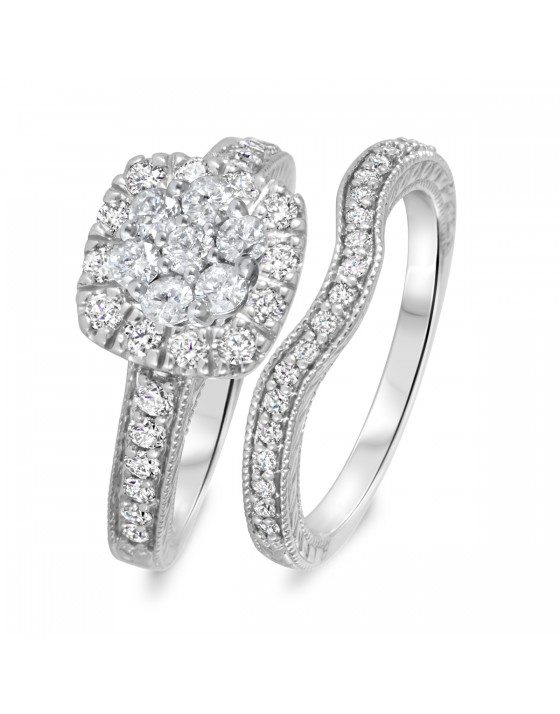 1 1/10 CT. T.W. Diamond Women's Bridal Wedding Ring Set 10K White Gold