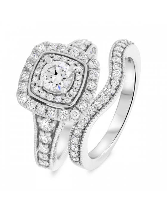 1 2/3 CT. T.W. Round Cut Diamond Ladies Bridal Wedding Ring Set 10K White Gold