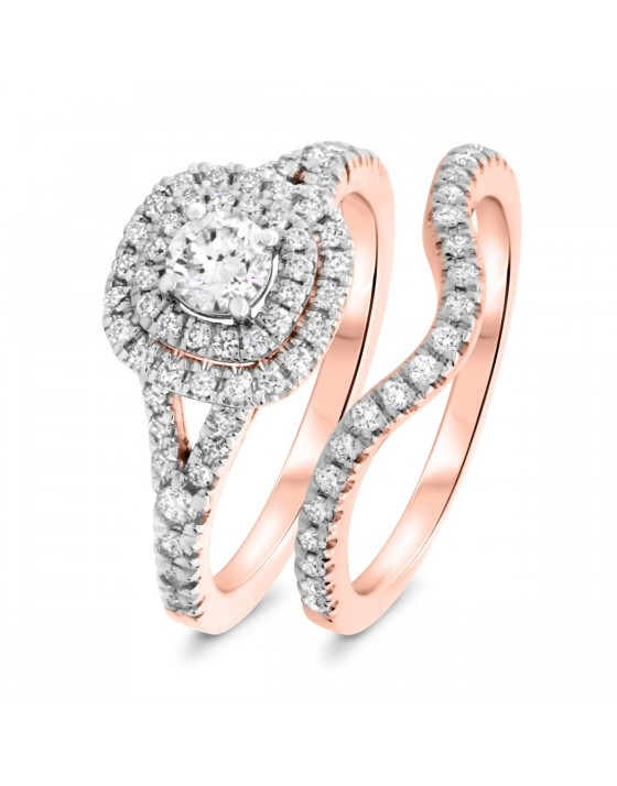 7/8 CT. T.W. Round Cut Rose and Rose Gold Bridal Set 10K Rose Gold