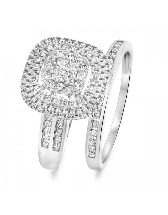 1 CT. T.W. Round, Princess Cut Diamond Ladies Bridal Wedding Ring Set 14K White Gold