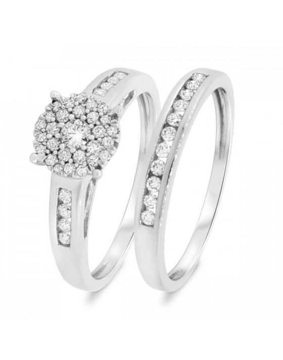 1/2 Carat T.W. Diamond Matching Bridal Ring Set 14K White Gold