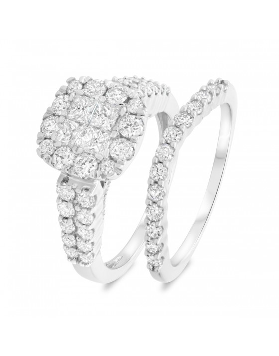 2 1/6 CT. T.W. Diamond Matching Bridal Ring Set 14K White Gold