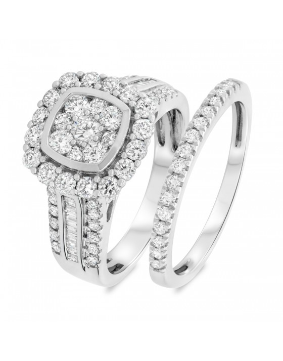 1 3/4 Carat T.W. Diamond Matching Bridal Ring Set 14K White Gold