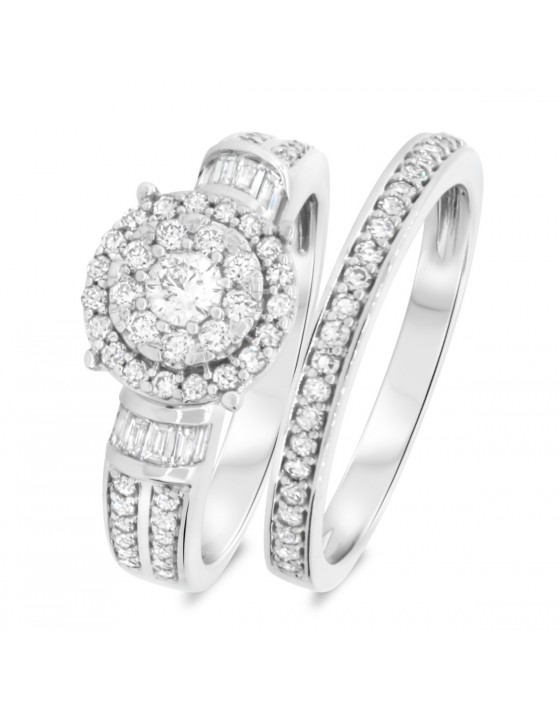 1 Carat T.W. Diamond Matching Bridal Ring Set 10K White Gold