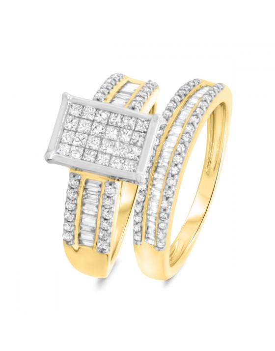 1 1/4 Carat T.W. Diamond Matching Bridal Ring Set 10K Yellow Gold