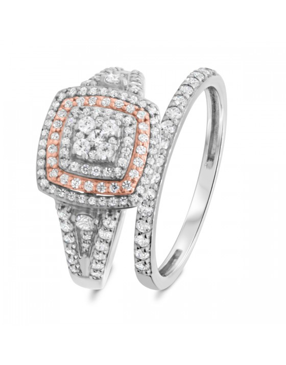1 CT. T.W. Diamond Matching Bridal Ring Set 14K White Gold