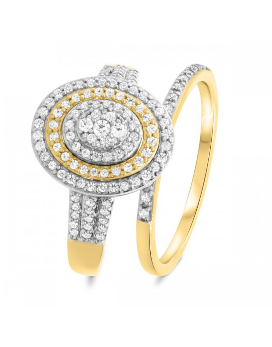 3/4 Carat T.W. Diamond Matching Bridal Ring Set 10K Yellow Gold