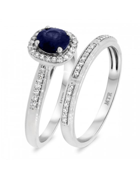 1 1/3 Carat T.W. Sapphire Matching Bridal Ring Set 10K White Gold