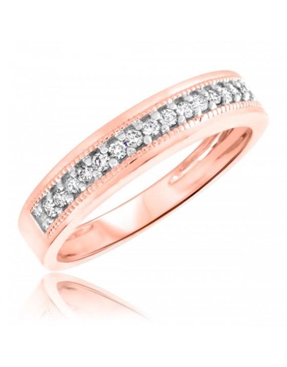 1/4 Carat T.W. Diamond Men's Wedding Ring 10K Rose Gold