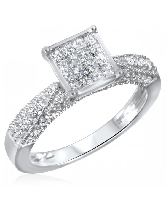 3/4 CT. T.W. Diamond Ladies Engagement Ring 14K White Gold