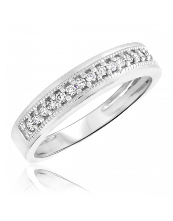 1/4 Carat T.W. Diamond Men's Wedding Ring 10K White Gold