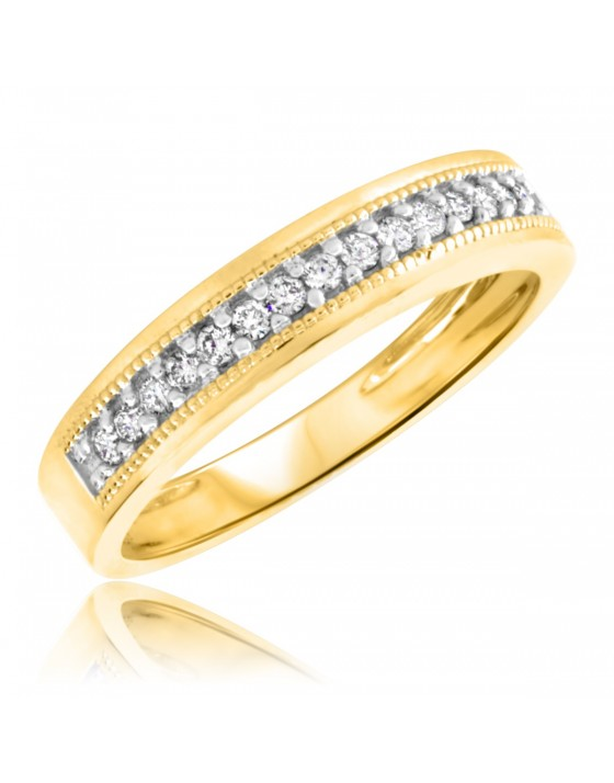 1/4 CT. T.W. Diamond Men's Wedding Band 14K Yellow Gold