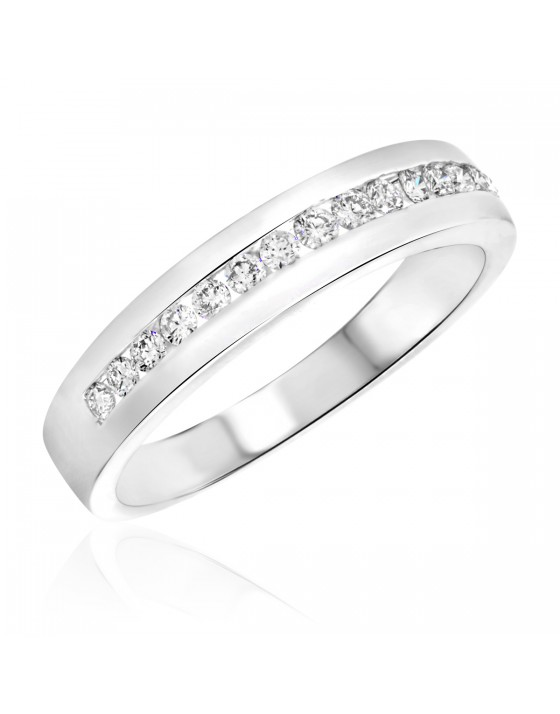 3/8 Carat T.W. Diamond Men's Wedding Ring 14K White Gold