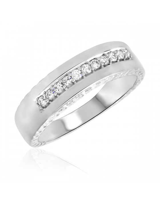 1/4 Carat T.W. Diamond Men's Wedding Ring 14K White Gold
