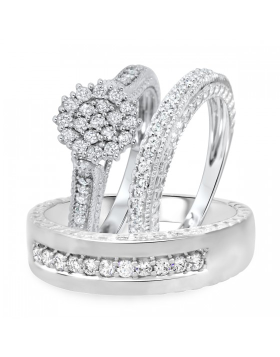 1 Carat Diamond Trio Wedding Ring Set 14k White Gold