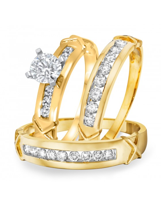 1 1/3 CT. T.W. Diamond Ladies Engagement Ring, Wedding Band, Men's Wedding Band Matching Set 14K Yellow Gold