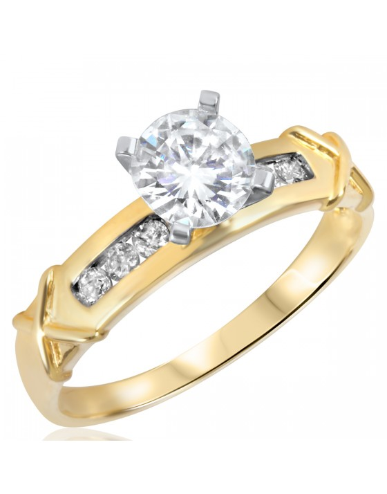 7/8 CT. T.W. Diamond Ladies Engagement Ring 14K Yellow Gold