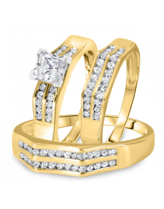 1 1/2 CT. T.W. Diamond Ladies Engagement Ring, Wedding Band, Men's Wedding Band Matching Set 14K Yellow Gold