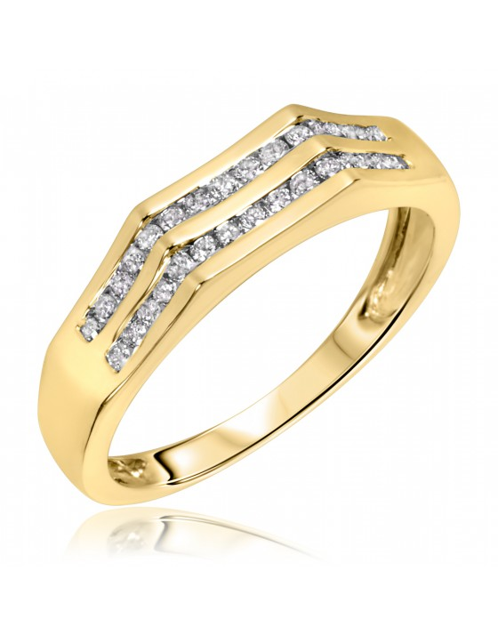 1/3 CT. T.W. Diamond Men's Wedding Band 14K Yellow Gold