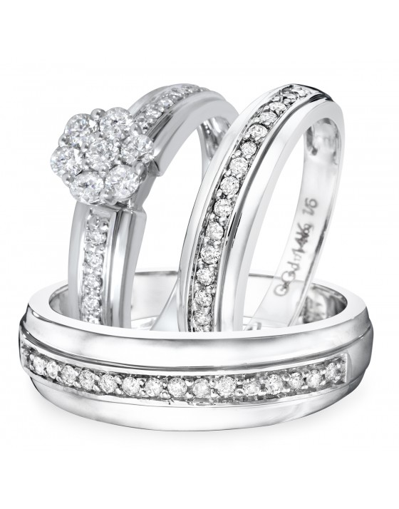 7/8 CT. T.W. Diamond Ladies Engagement Ring, Wedding Band, Men's Wedding Band Matching Set 10K White Gold