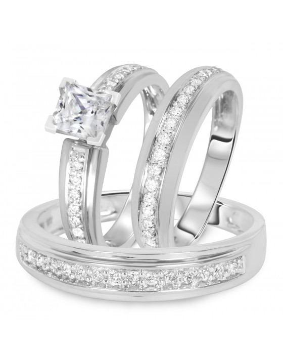 1 1/2 CT. T.W. Diamond Ladies Engagement Ring, Wedding Band, Men's Wedding Band Matching Set 14K White Gold