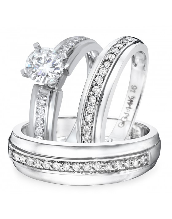 1 1/4 CT. T.W. Diamond Ladies Engagement Ring, Wedding Band, Men's Wedding Band Matching Set 14K White Gold