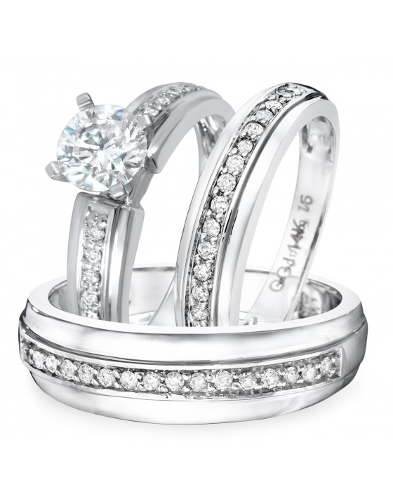1 1/2 CT. T.W. Diamond Ladies Engagement Ring, Wedding Band, Men's Wedding Band Matching Set 10K White Gold