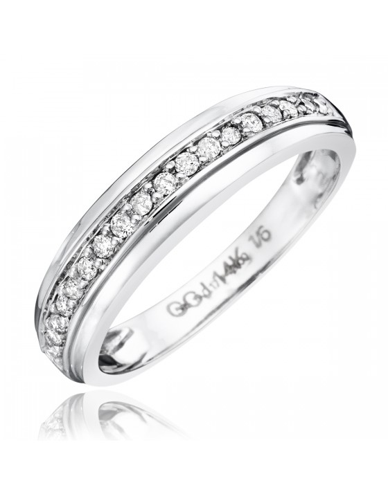 1/7 CT. T.W. Diamond Women's Wedding Band 10K White Gold