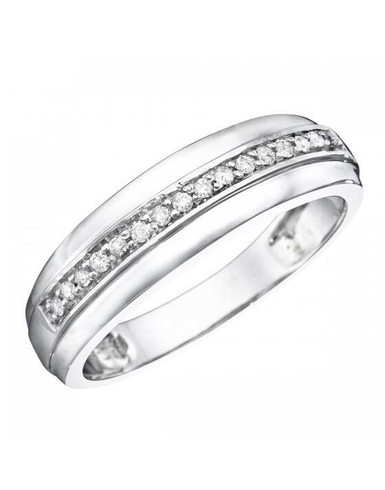 1/5 CT. T.W. Diamond Men's Wedding Band 14K White Gold