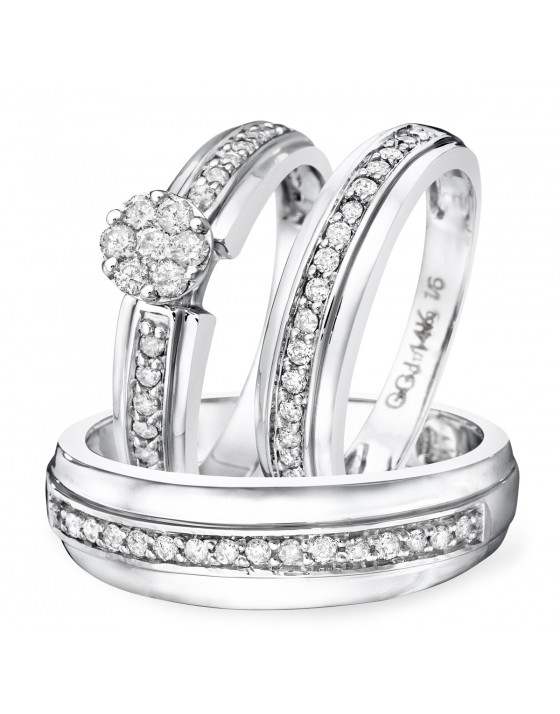 3/4 Carat Diamond Trio Wedding Ring Set 14K White Gold