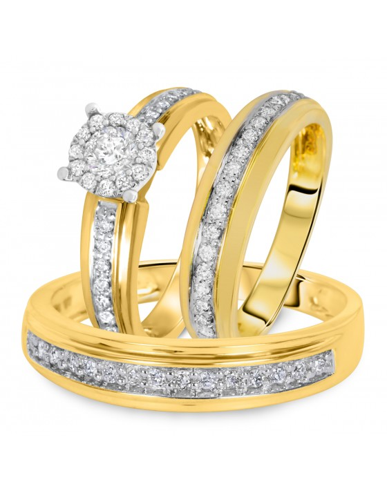 7/8 CT. T.W. Diamond Ladies Engagement Ring, Wedding Band, Men's Wedding Band Matching Set 10K Yellow Gold