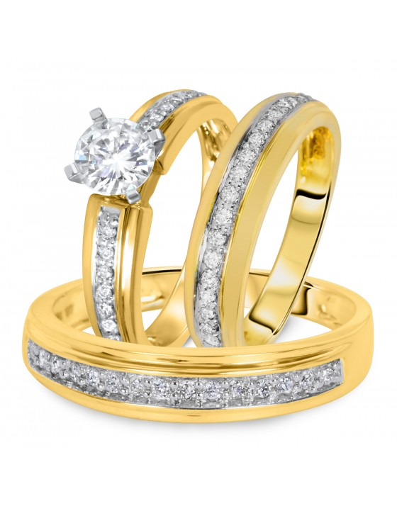 1 1/4 CT. T.W. Diamond Ladies Engagement Ring, Wedding Band, Men's Wedding Band Matching Set 10K Yellow Gold