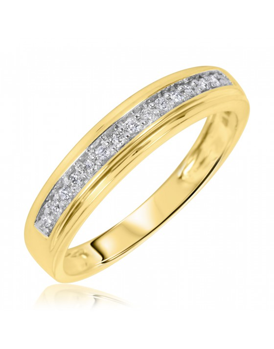 1/5 Carat T.W. Diamond Men's Wedding Ring 10K Yellow Gold