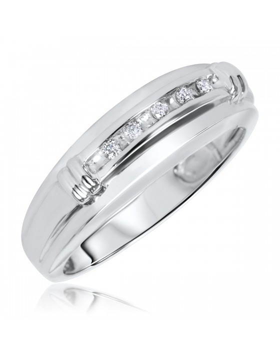 1/10 CT. T.W. Diamond Men's Wedding Band 14K White Gold