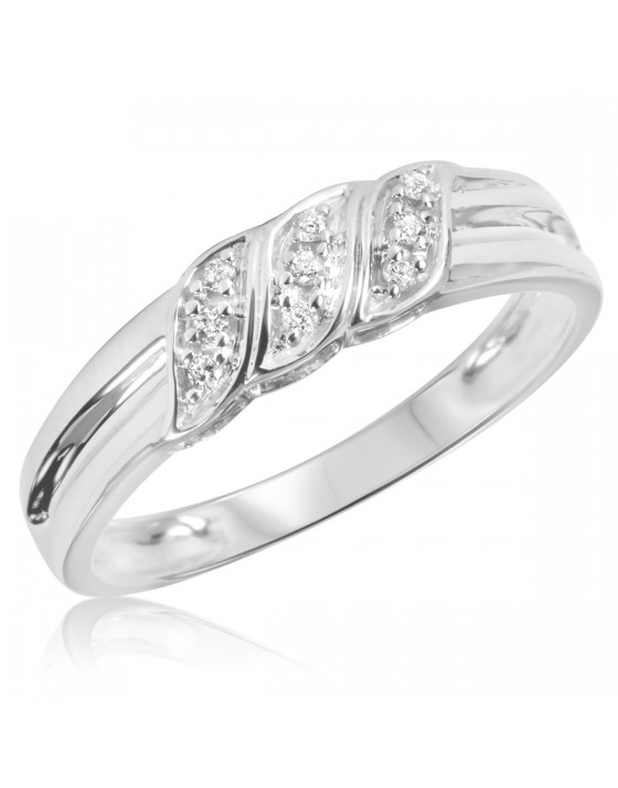 1/10 Carat T.W. Diamond Men's Wedding Ring 10K White Gold