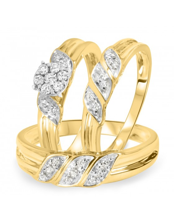 3/8 CT. T.W. Diamond Ladies Engagement Ring, Wedding Band, Men's Wedding Band Matching Set 10K Yellow Gold