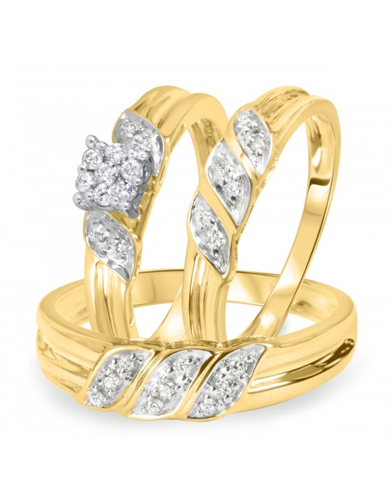 1/4 Carat Diamond Trio Wedding Ring Set 14K Yellow Gold