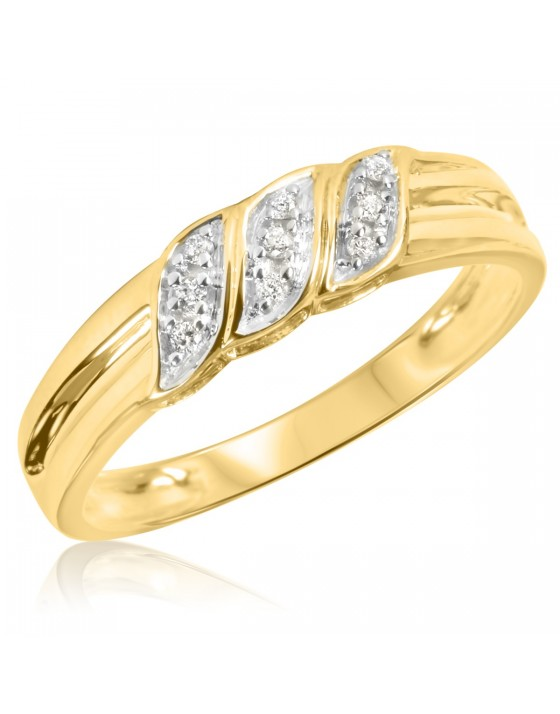 1/10 Carat T.W. Diamond Men's Wedding Ring 14K Yellow Gold
