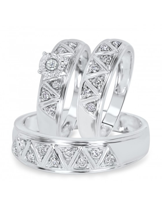 1/2 Carat Diamond Trio Wedding Ring Set 10K White Gold