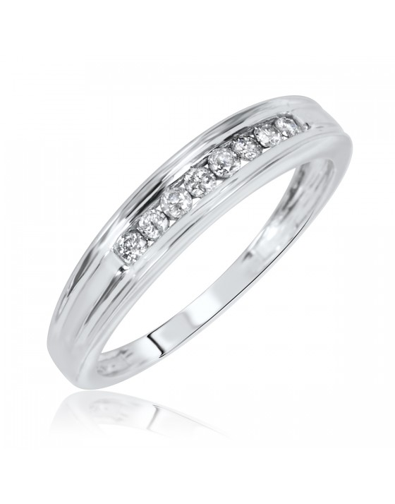 1/7 CT. T.W. Diamond Ladies' Wedding Band 10K White Gold