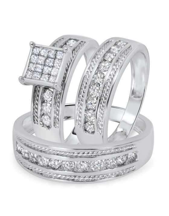 1 3/8 Carat Diamond Trio Wedding Ring Set 14K White Gold