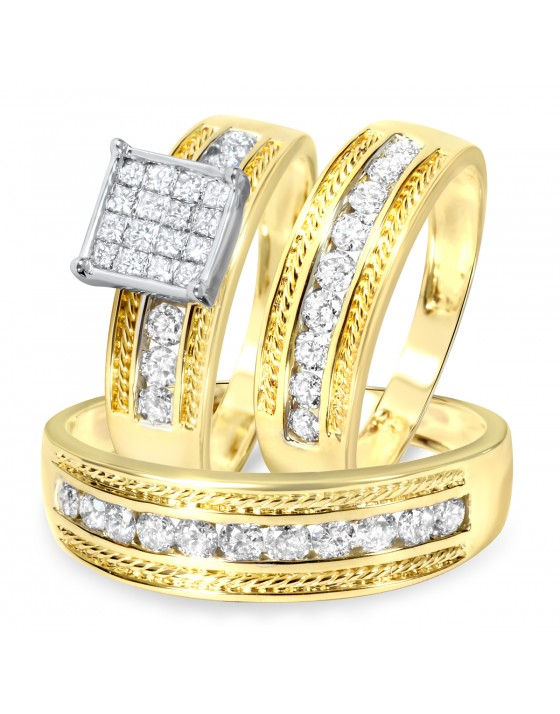 1 2/5 Carat Diamond Trio Wedding Ring Set 14K Yellow Gold