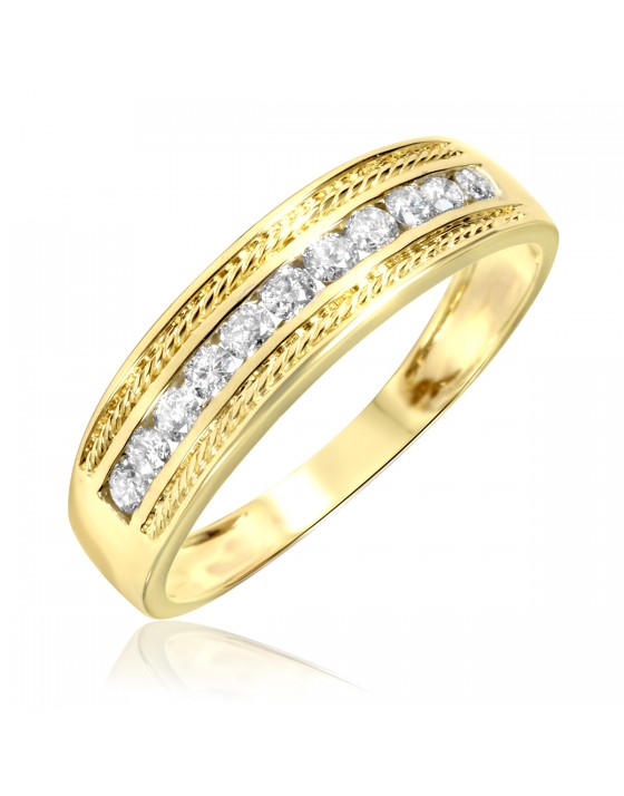 1/3 Carat T.W. Diamond Men's Wedding Ring 14K Yellow Gold