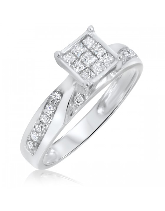 1/2 Carat T.W. Diamond Women's Engagement Ring 10K White Gold